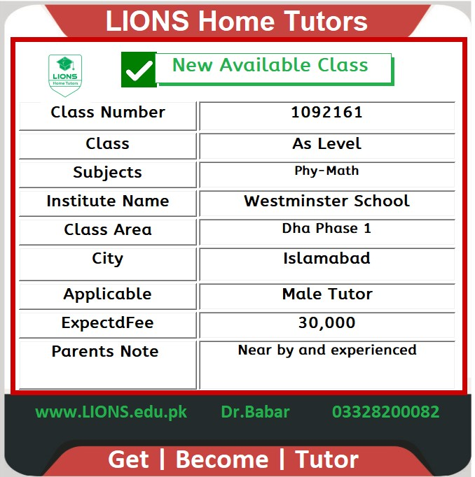 home tutor for as level in Dha Phase 1 Islamabad
