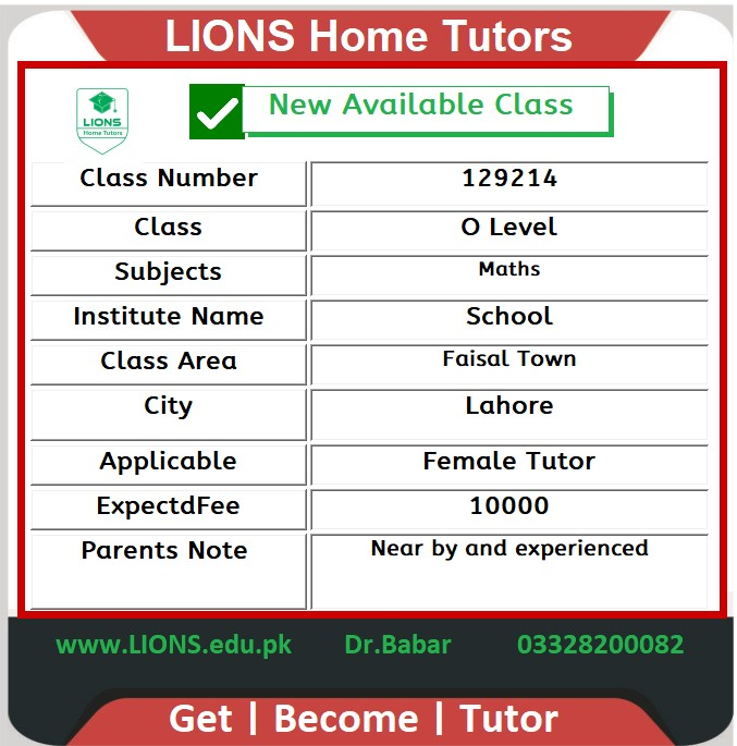 Home Tutor for O Level in Faisal Town Lahore