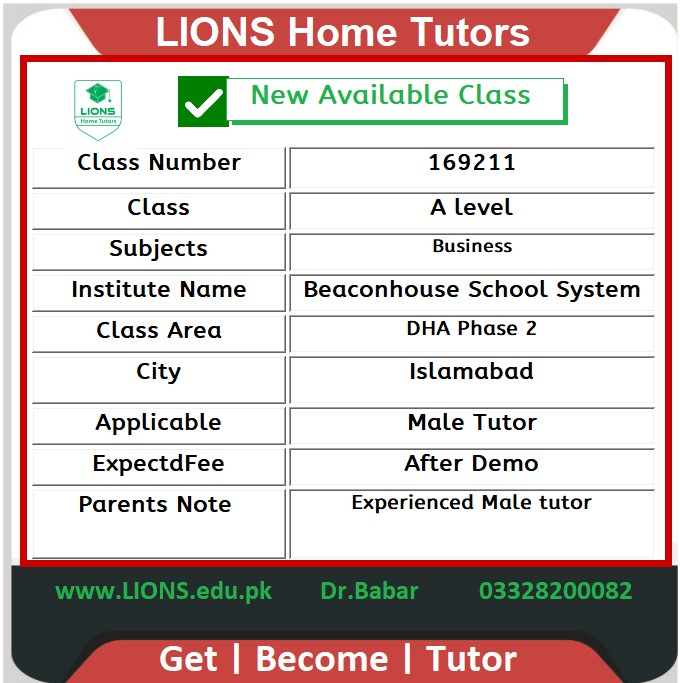 Home Tutor for A level Business in DHA Phase 2 Islamabad