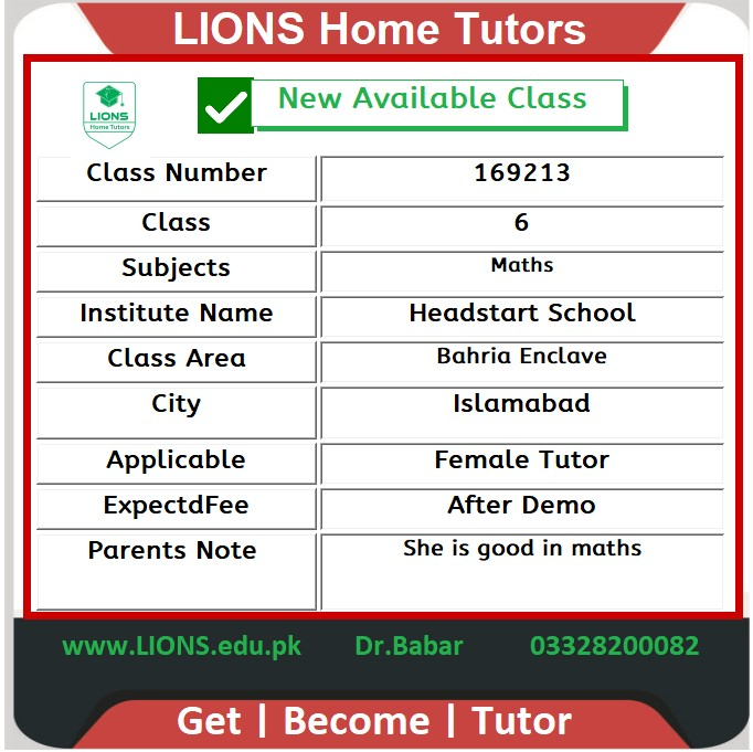 Home tutor for headstart class 6 in Bahria enclave Islamabad