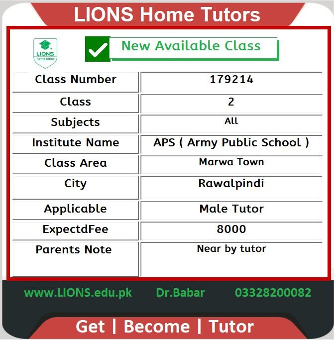 Home Tutor for Class 2 in Marwa Town Rawalpindi