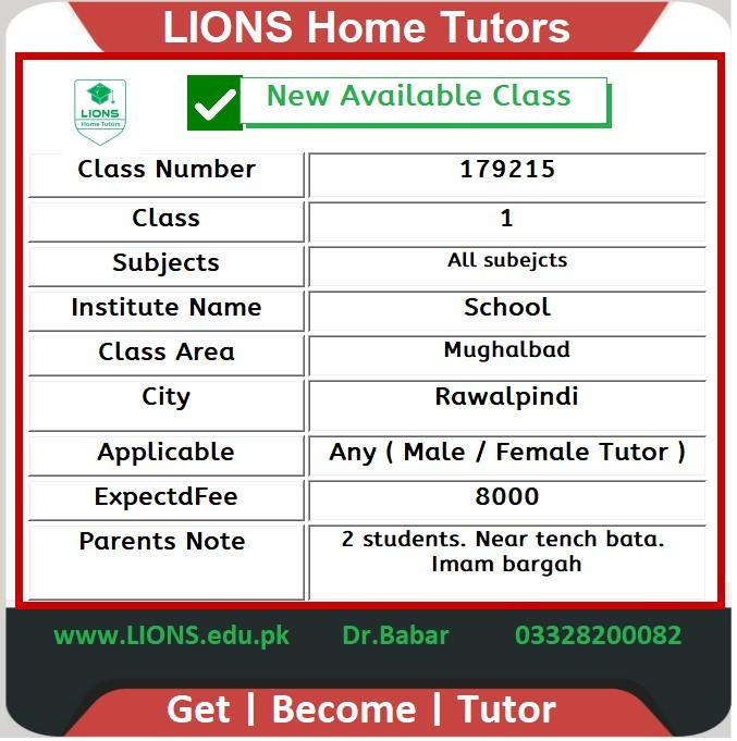 Home Tutor for Class 1 in Mughalbad Rawalpindi