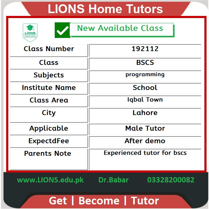 Home Tutor for Class BSCS in Iqbal Town Lahore