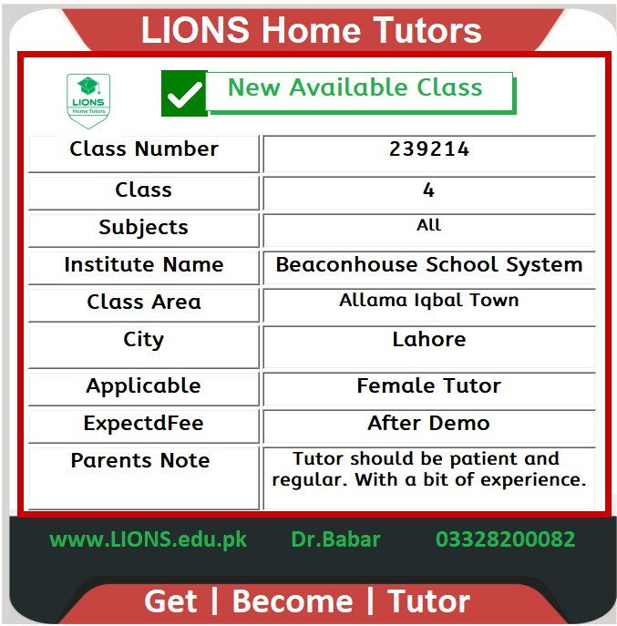Home Tutor for Beaconhouse Class 4 in Allama Iqbal Town Lahore