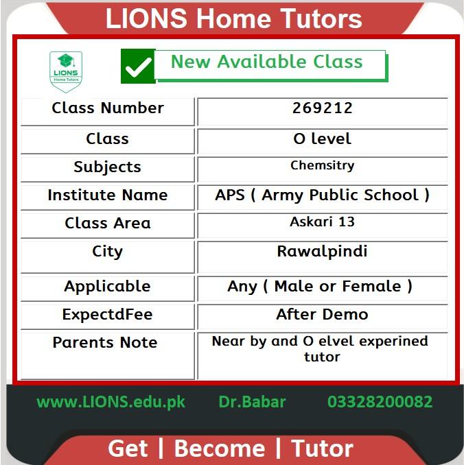 Home Tutor for O level Chemistry in Askari 13 Rawalpindi