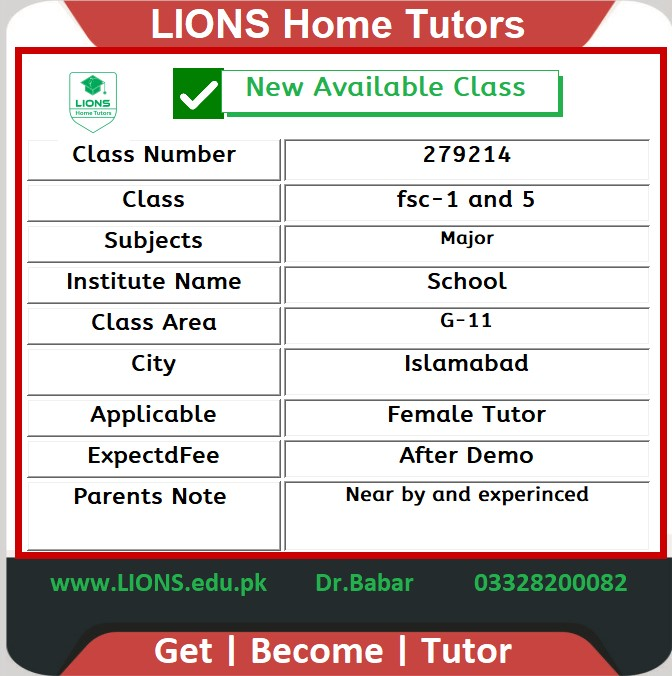 Home Tutor for Class fsc-1-5 in Bahria Phase 1 Islamabad