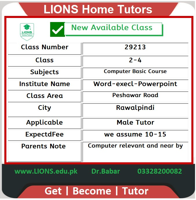 Home tutor for Basic Computer Course