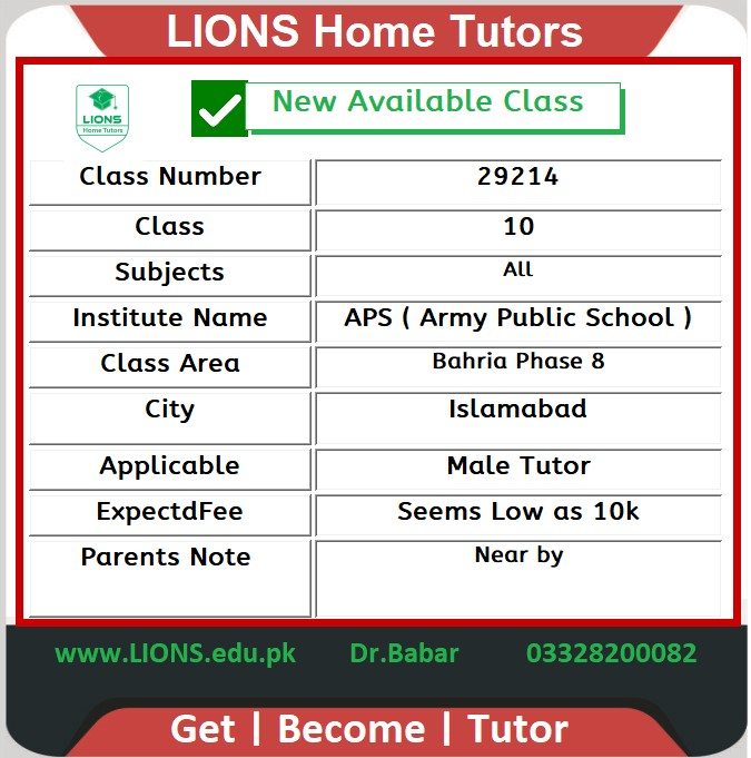 Home Tutor for Class 10 in Bahria Phase 8 Islamabad