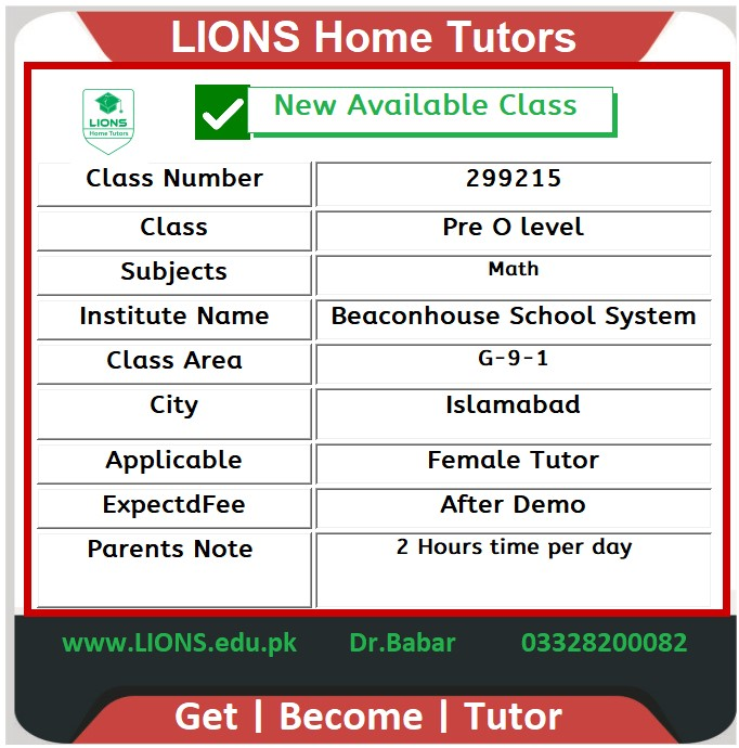 Home Tutor for Class Pre O level Maths in G-9-1 Islamabad