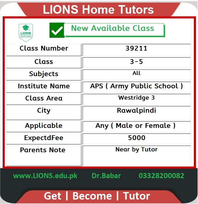 Home Tutor for Class 3-5 in Westridge 3 Rawalpindi