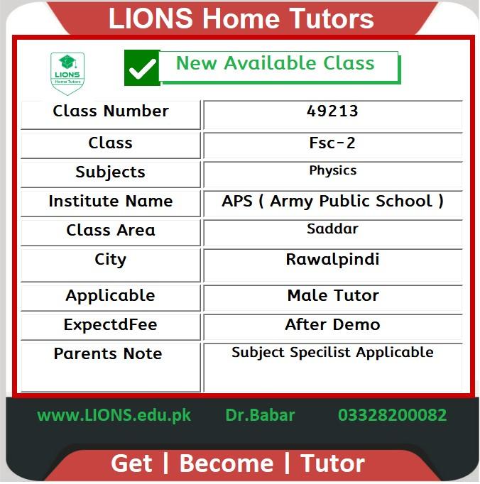 Home tutor in Saddar Rawalpindi