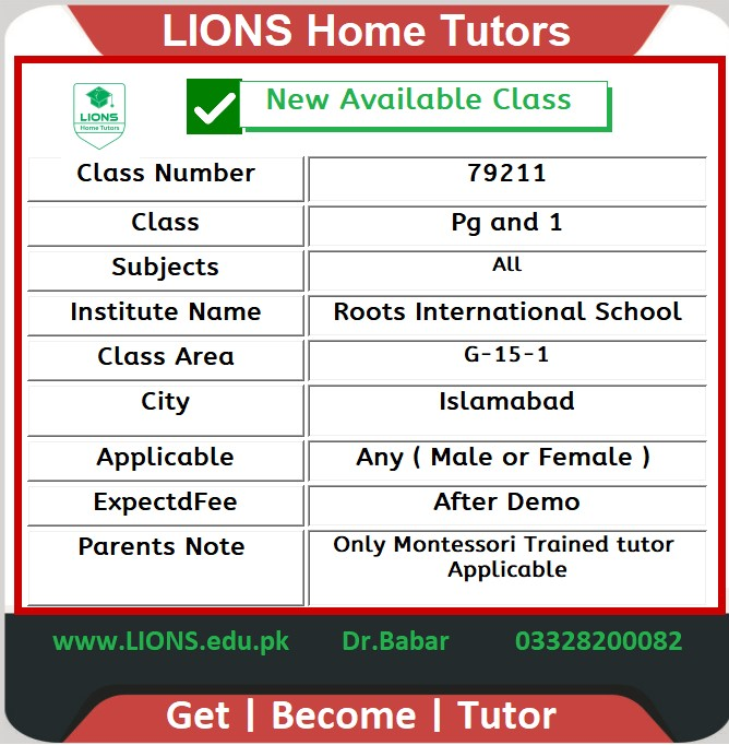 Home Tutor for Class Pg-1 in G-15-1 Islamabad