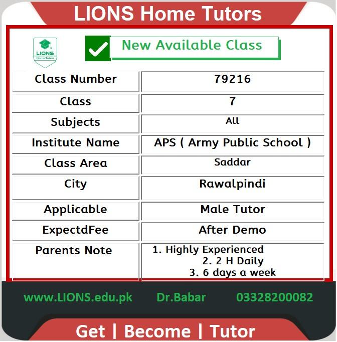 Home Tutor for APS Class 7 in Saddar Rawalpindi