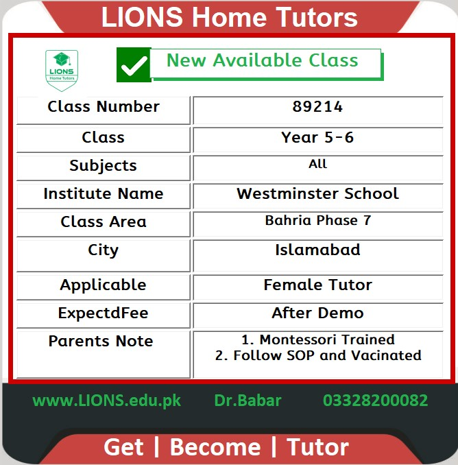 Home Tutor for Year 5-6 in Bahria Phase 7 Islamabad