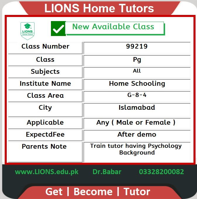 Home Tutor for Class Pg in G-8-4 Islamabad